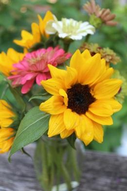 Sunflowers and Zinnias